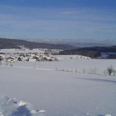 Blick auf Lindenau, im Hintergrund Großer Arber