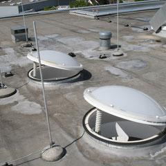 Übersichtsbild der Oberlichter in dem Flachdach