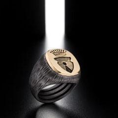 14 IdB Imprimatur inciso a righe, in ferro e oro -  Iron signet ring with gold on top