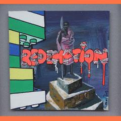 erlösung, 2013, Lack, Acryl und Mixed media auf Karton, 40 x 40 cm