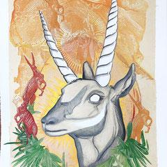 "Antelope Portrait, 28""h x 22""w; $1600 AVAILABLE"