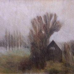 1987, 81x94, Farbstift auf Holz