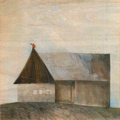Aus dem Zyklus Hauser, 1990, 122x122, Farbstift auf Holz, Foto: Georg Thuringer
