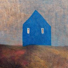 Aus dem Zyklus Hauser, 2007, 81x94, Farbstift auf Holz, Foto: Georg Thuringer