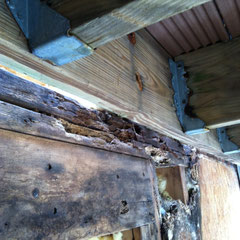 photo1-sliding door frame under deck-The wood above the sliding door under the deck shows black mold and rot.