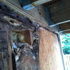 photo2-wall under deck-Rotten OSB board from water damage.