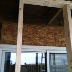 photo4-temporary deck support framing while deck was detached to install Tyvek on wall above deck