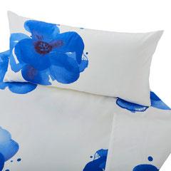 Bio Satin-Bettwäsche Blaue Anemone