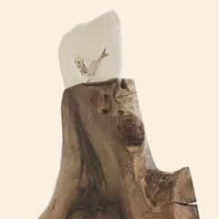 Nussbaum-Standobjekt oberer Teil mit Fossil Fisch