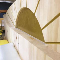 """Detail Zirbenholzbett """"Morgensonne"""": LED-Beleuchtung aus"""