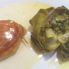 Veal with artichoke. (Photo by L. Cotterill)