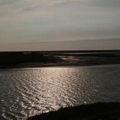 Noch immer steigt das Wasser. Am Ende wird nur noch der obere Damm aus dem Wasser schauen.