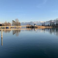 Rapperswil-Jona Sicht auf den Holzsteg