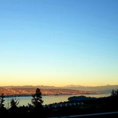 Zürichsee Sicht nach Seedamm