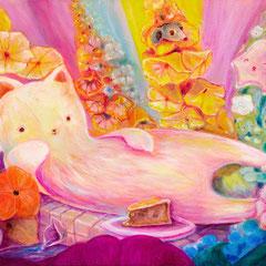 Katzenwesen 30 x 60 cm Öl auf Leinwand