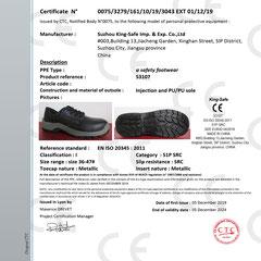 Safety Shoe CE ISO EN20345:2011 S1P SRC Model S3107