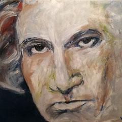 Beethoven, Acryl auf Keilrahmen, 100 x 80 cm, befindet sich zur Zeit bei der Ausstellung im KKH Aichach