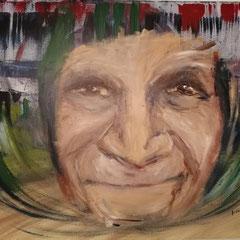 """""""Alte Dame"""", Acry auf Keilrahmenl, 100 x 80 cm, befindet sich zur Zeit bei der Ausstellung im KKH Aichach"""