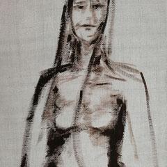 Auf echtem Leinens gemalt , Acryl auf Keilrahmen, befindet sich zur Zeit bei der Ausstellung im KKH Aichach