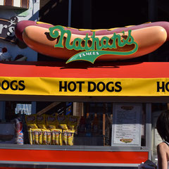 Nathan`s Hot Dog in San Francisco