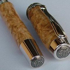 Gravurrand Black Titanium - Endkappen mit Klipp, Griffstück wie bei Zierring Gold