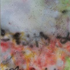 Im Garten - Lack, Leinwand auf Holzplatte 67x77, 2019, Ursula Schachner, Silvia Ulrich