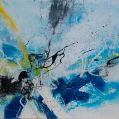 Blue Waves - Acryl auf Leinwand, 97x60 cm, 2018, Silvia Ulrich