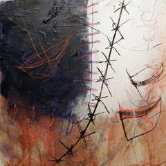 """""""machtstück, #3"""", 2015, mt auf papier auf leinwand, 60x60 cm"""