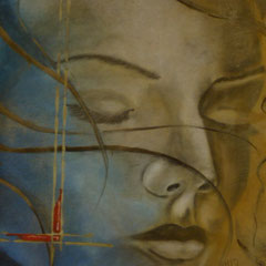 Rêve bleu 60x80cm Technique mixte sur papier marouflé sur médium