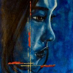 Profil bleu 60x70cm Technique mixte sur toile