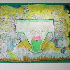 I am king:アクリル絵の具、クレヨン、ダーマトグラフ、水彩インク、鉛筆、コラージュ