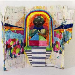 パンツの神様:アクリル絵の具、ジェッソ、ダンボール、コラージュ