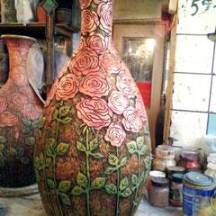 """ваза напольная керамика """"Розы"""""""