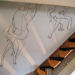Particulier - décor escalier sur toile marouflée 9m²