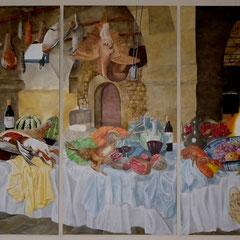 décor chateau - triptyque  acrylique sur toile 3m x 1.95m Chateau viticole Lot & Garonne