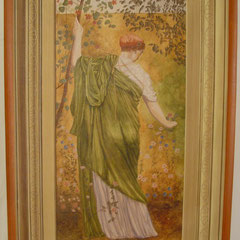 acrylique sur toile d'après Albert MOORE. cadre peint trompe l'oeil