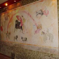 Restaurant Nîmes - décor sur panneau bois 10m²
