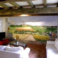 décor chateau - acrylique sur bois 5.60m x 2.70m  Chateau viticole Lot & Garonne