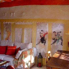 Particulier - décor sur mur vieilli.
