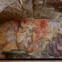 Restaurant Uzès - fresque sur toile marouflée 6m²