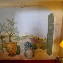 Hotel à Tarascon - acylique sur toile marouflée sur mur - 7m²