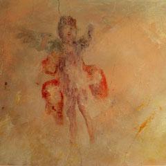 Décor type pompei sur mur vieilli - détail