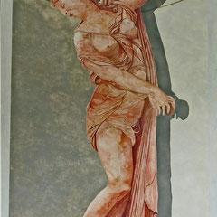 Statue faux marbre Alicante hauteur 2.30m. Acrylique et huile. particulier.  Château Renaissance
