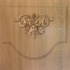 en cours. Projet réalisation bibliothèque faux chêne cérusé avec grisailles et polychromie. 55m². Huile. Château Renaissance