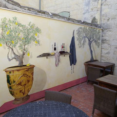 Restaurant UZES - décor sur bois extérieur 8m²