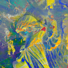 """""""Schutzengel""""   2013, digitale Kombination aus Acrylwerk und Fotografie"""