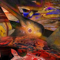 """""""Zeitenwelt""""     2014, digitale Kombination aus 3D-Werk, Acrylwerk und Fotografie"""
