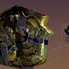 Hier sind nur die Portale fertig zu sehen, der Rest (Landschaft, fliegende Bücher, Hintergrund) wird als Gitterstruktur im Rohmodell dargestellt