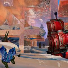 """""""als Thorsten vergaß, im Kaufhaus sein Weihnachtsgeschenk, das große, rote Schiff abzuholen""""   2013 digitale Kombination aus 3D-Werk und Fotografie"""