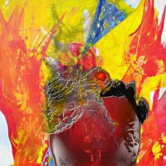 """""""Herr Ober, einen Supernova bitte!!!""""   2013, digitale Kombination aus Acrylwerk und Fotografie"""